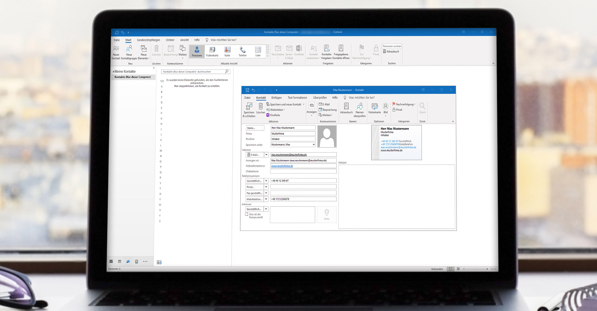 Screenshot vom vCard-Import in Outlook