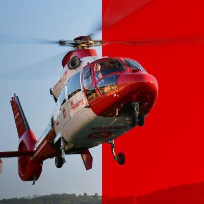 Helikopter der Johanniter im Landeanflug