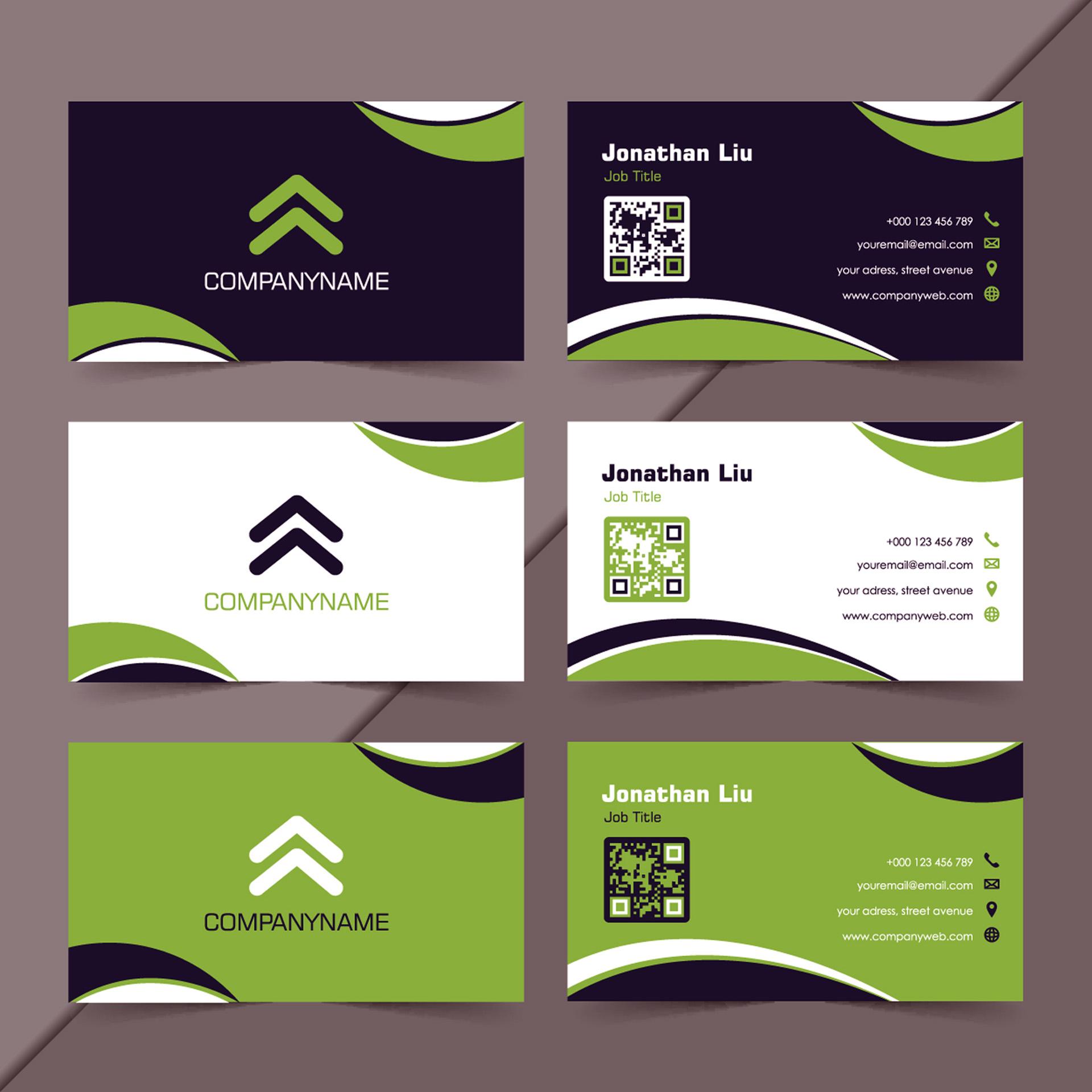 Verschiedene Motive für Vor- und Rückseite einer Visitenkarte