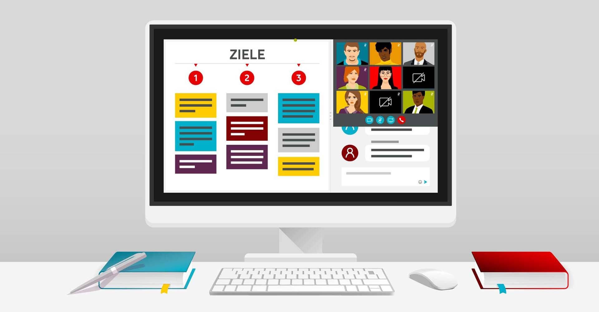 Illustration eines Bildschirms während Online-Moderation
