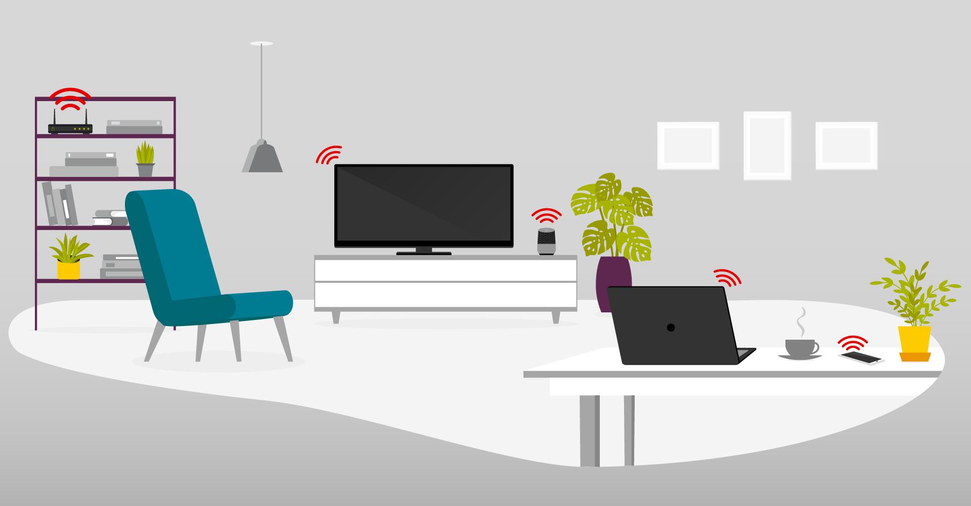 Illustration eines Wohnzimmers mit verschiedenen Geräten im WLAN