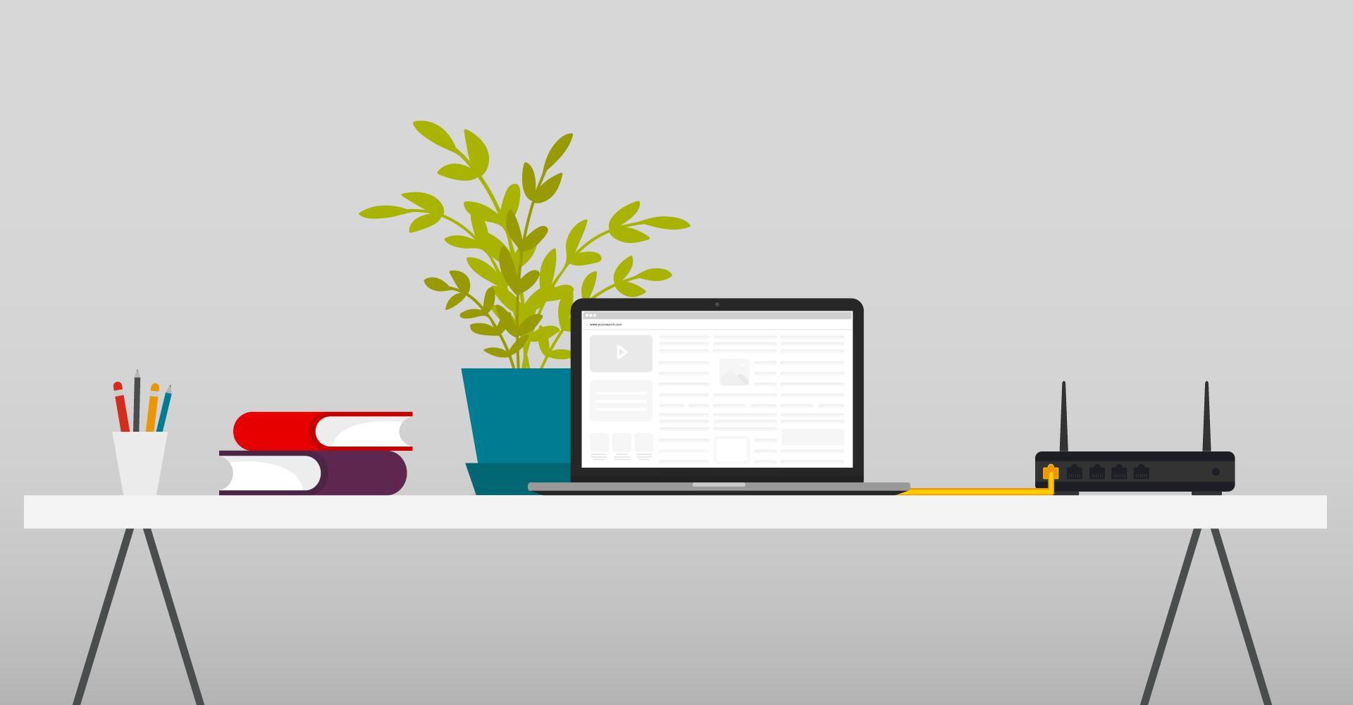 Illustration eines Schreibtisches mit Laptop und Kabel zu einem Router