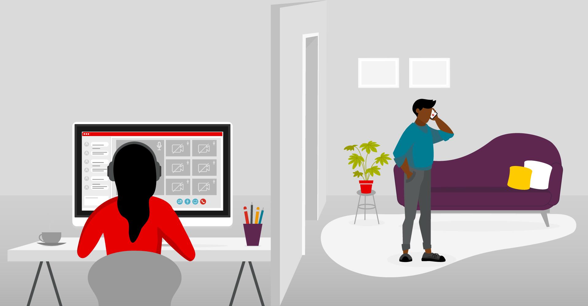 Illustration von zwei Personen in einer Wohnung mit verschiedenen Kommunikationsmitteln