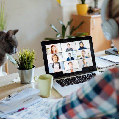 Frau schaut auf eine Videokonferenz im Homeoffice
