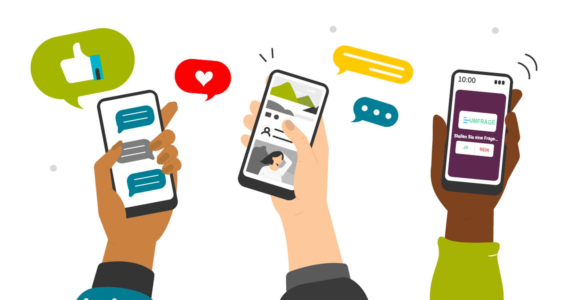 Infografik zu sozialen Medien auf dem Smartphone
