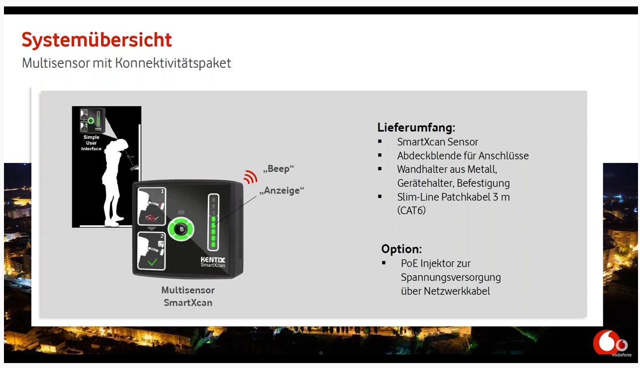 Die Grafik erklärt die Bestandteile des MultiSensors SmartXcan von Vodafone.