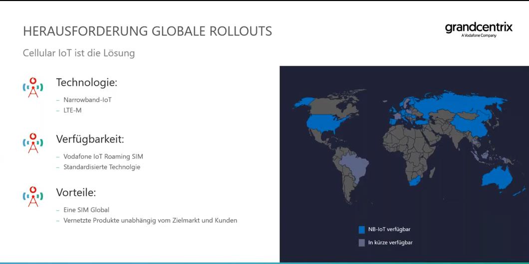 Die Weltkarte zeigt die Verfügbarkeit von Narrowband-IoT.