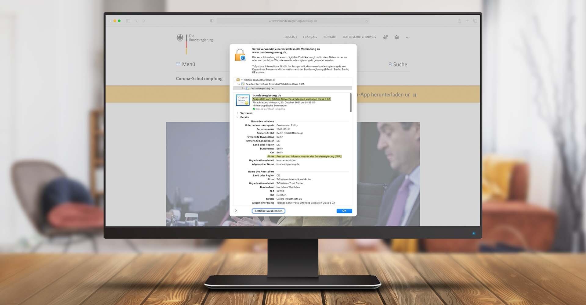 Screenshot des SSL-Zertifikats der Webseite der Bundesregierung.