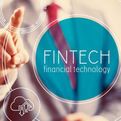 Fintech-Symbolbild mit Kreisen und einem Geschäftsmann