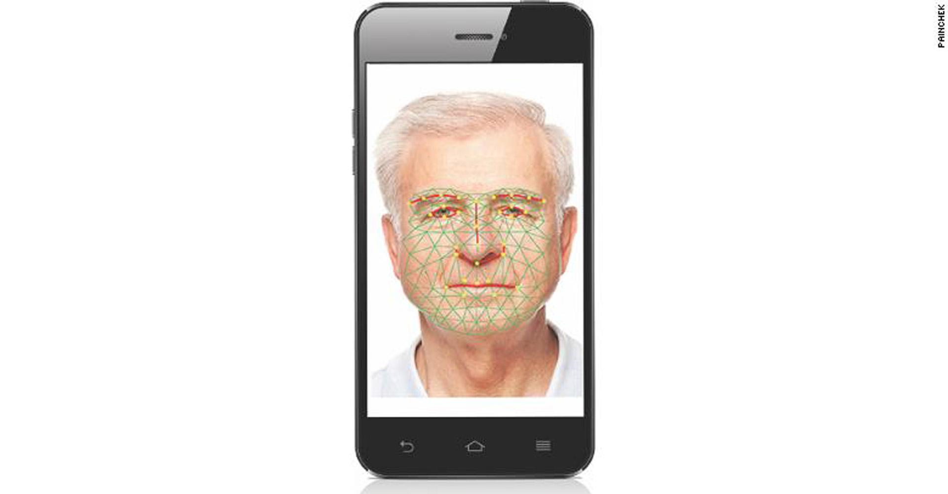 PainChek-App mit einem Gesicht und KI-Messpunkten