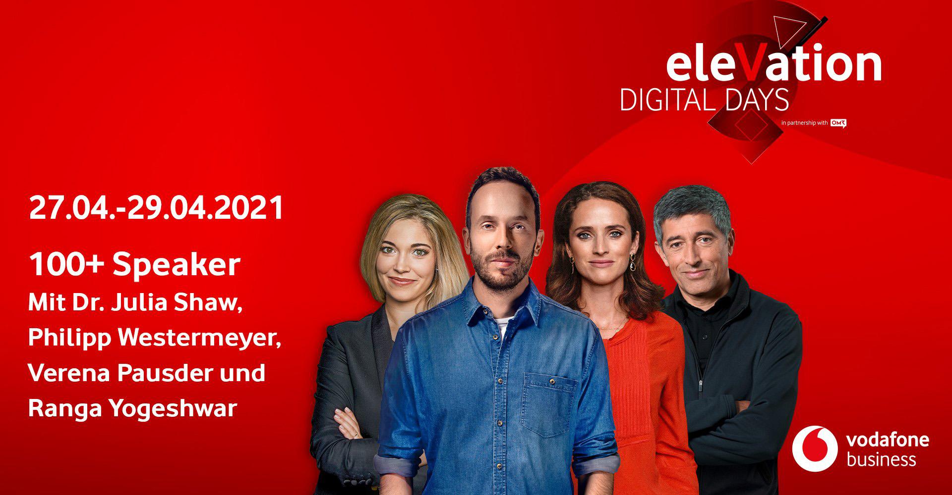 Vier der Sprecher auf den Vodafone eleVation DIGITAL DAYS