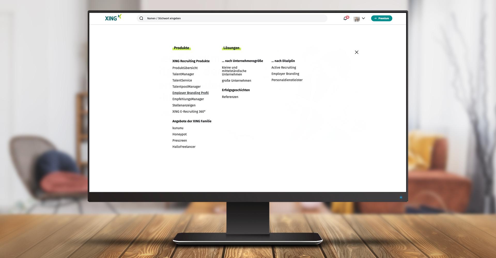 Screenshot des Menüs, unter dem Sie das Upgrade Ihrer Unternehmensseite zu einem Employer-Branding-Profil wählen