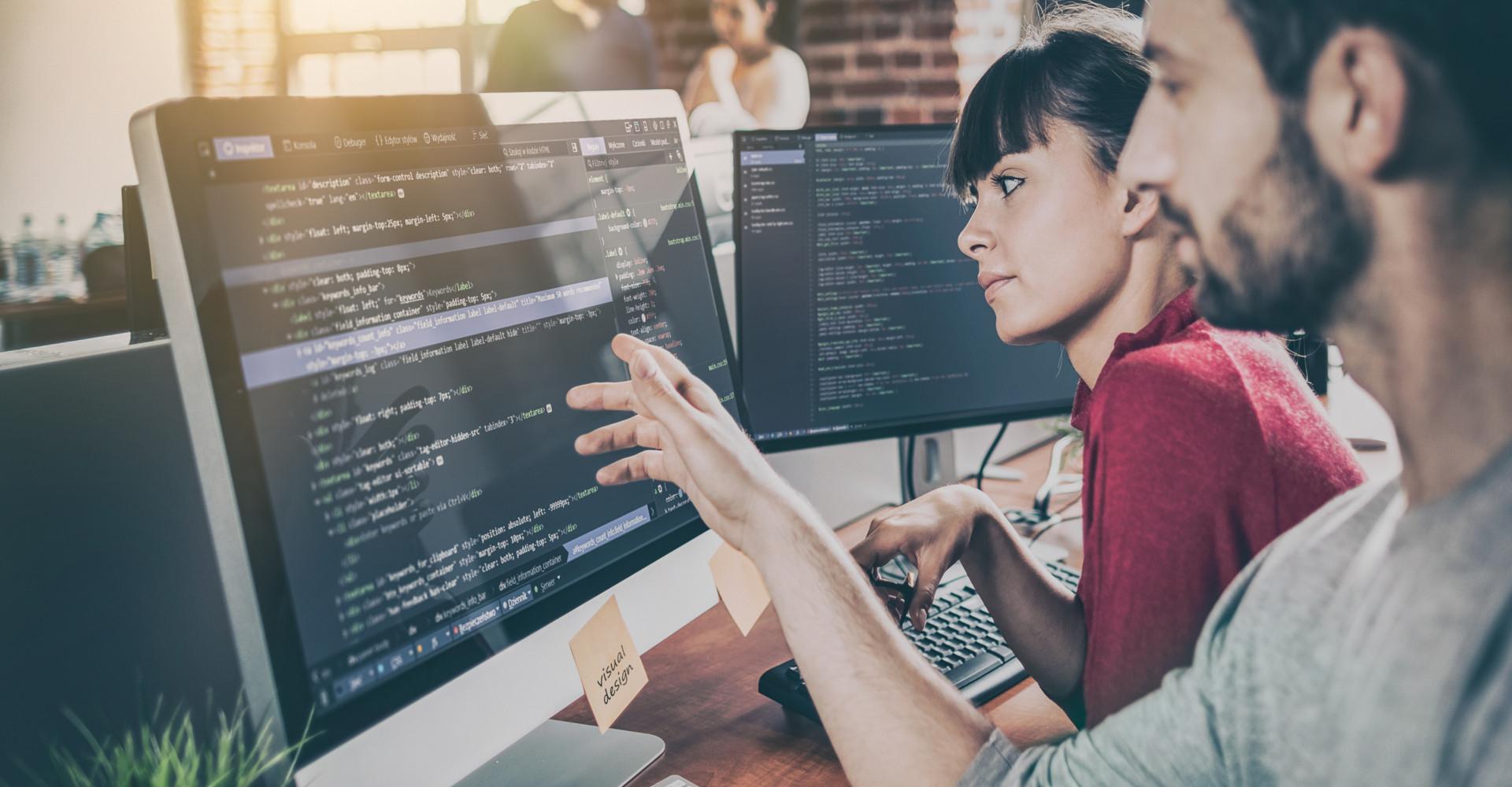 Eine Frau und ein Mann beraten sich vor einem Computer-Bildschirm.