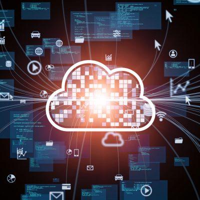 Sinnbild mit einer Cloud und Containern