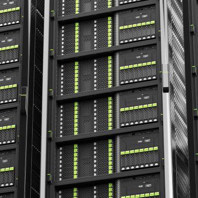 Das Foto zeigt eine Serverwand.