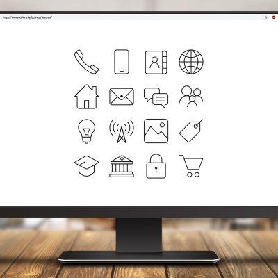 Symbolbild mit Icons auf einem Bildschirm.
